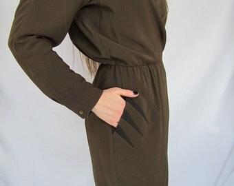 Closing Sale Vtg 1970s - 80s THIERRY MUGLER Paris Plunging Asymmetrical Wrap Dress XS - S