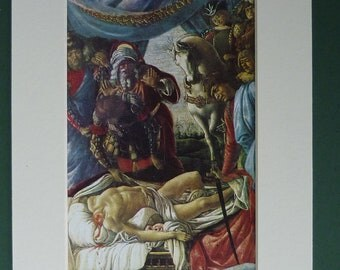 1968 Print Of Botticelli's Holofernes Found Dead - Picture - Decapitation - Beheading - Headless - Fine Art - Matted - Italian Master