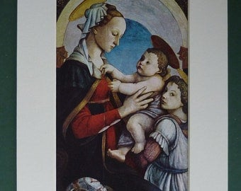 1968 Print Of Madonna & Child With Angel - Picture - Virgin Mary - Jesus Christ - Fine Art - Matted - Medieval - Baby - Renaissance