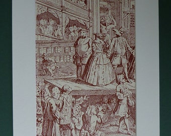 1949 Sepia Print Of 18th Century Play Engraving - Picture - Theatre - Theater - London - Matted - Stage - Animals - Mounted