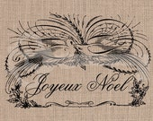 French Christmas Calligraphy Birds Joyeux noel Image No.192,  image transfer to burlap, linen, fashion, decor, printable artwork - TanglesGraphics