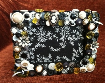 SALE! Black and White Themed Button Picture Frame