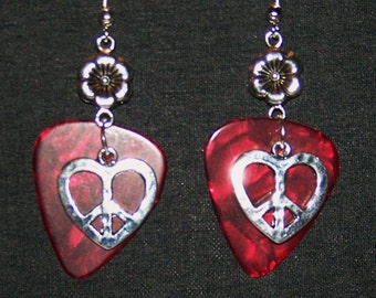 Guitar Pick Earrings with Hearts and Flower Charms