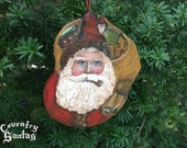 Coventry Santa with Pipe, Sack of Toys, Red Coat & Hat Christmas Ornament