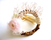 Boho Romantic Bracelet. Up Cycled Fabric Bracelet Cuff. Handmade Mohair Rosette. Organic Yute Ring. Boho Style cuff. Feminine. Autumn