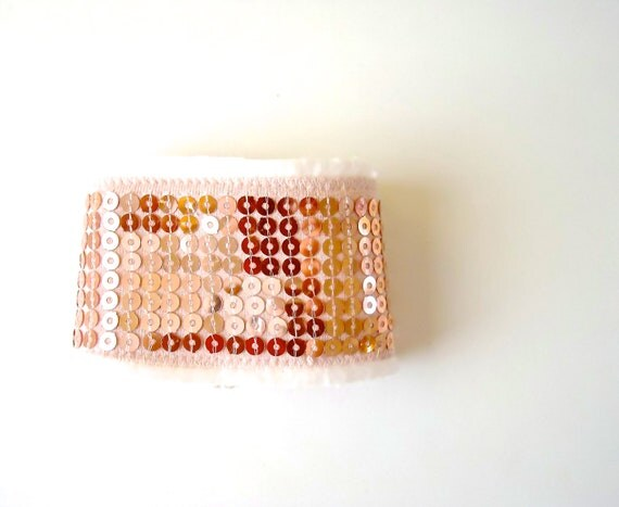 Blush Upcycled Cuff. Feminine and Chic. Sequins and Filigree detail. One of a Kind. Limited Edition. Fall Accessories.