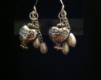 Unique-Classy, Heart-n-Pearl Timeless Drop Earrings