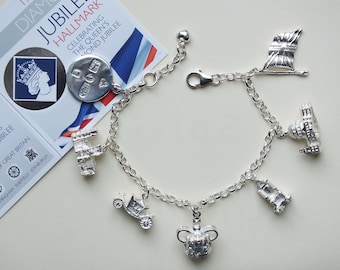 Unique Sterling Silver Charm Bracelet Celebrating the 'Queens Diamond Jubilee in London' with collectable Hallmark