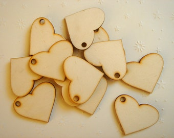 Unfinished wooden Hearts  Pendants, Wood Tile for Jewelry,