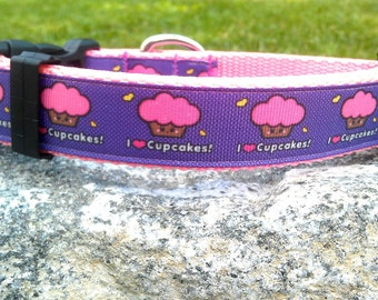 I Love Cupcakes 1 Inch Width Dog Collar