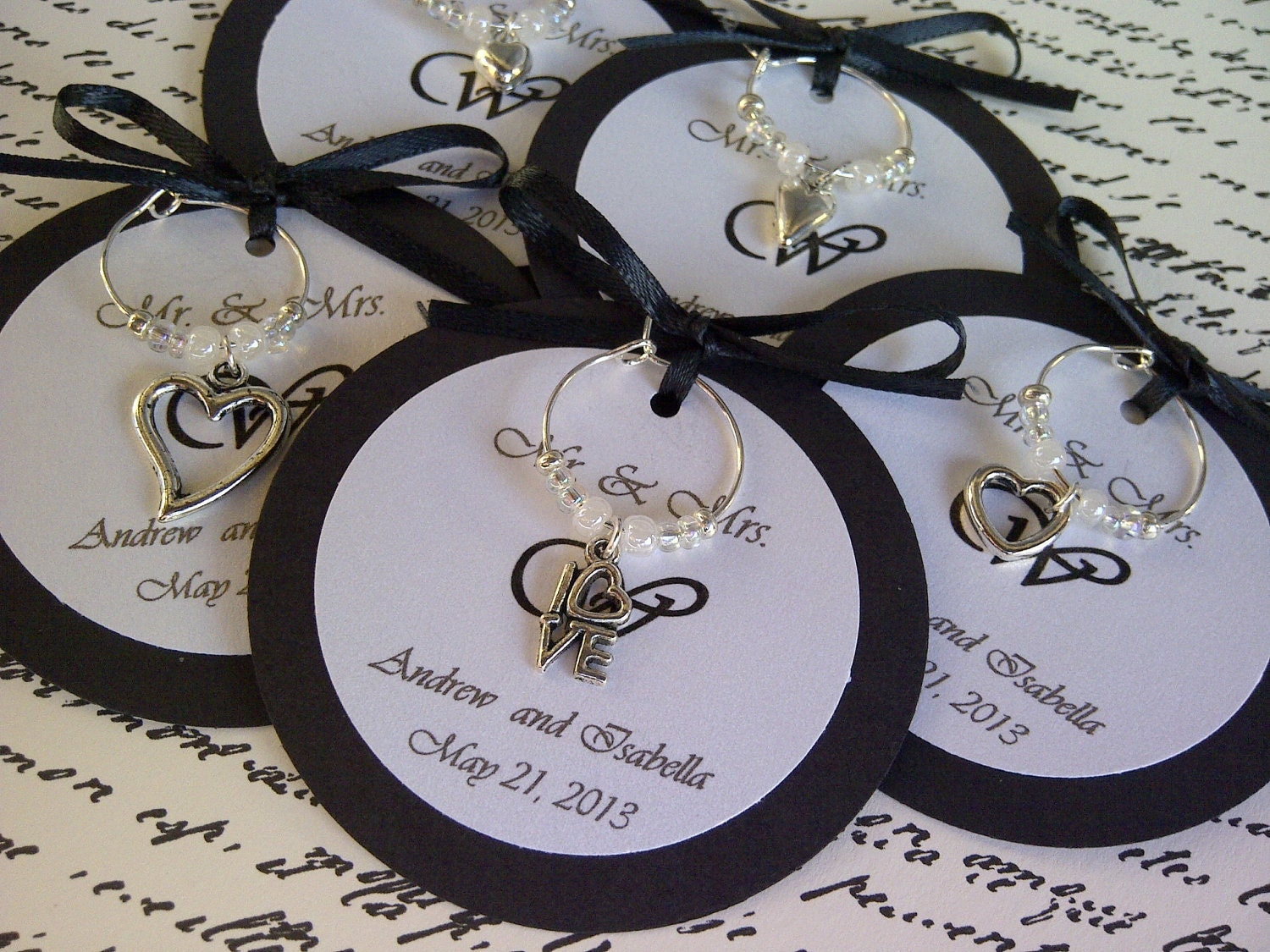 Custom Hearts and Love Wine Charm Favors Weddings Bridal