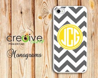 MONOGRAM iphone 6, iPhone 5/5s, iPhone 4/4s plastic or rubber case - Grey/White Chevron pattern w/Yellow Monogram