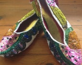 90s ,Ballet Flats ,Jelly Fruit salad, Size 7-7/5 pineapple, glitter, beads, sequins, shoes, summer, belle bijoux