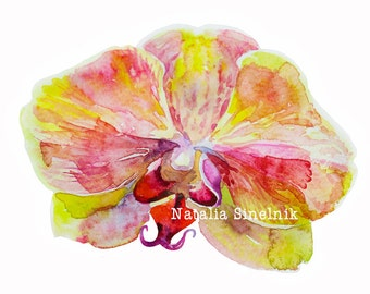 Pink and yellow orchid digital download from original watercolor, cottage chic style painting