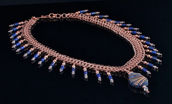 Blue Lapis Lazuli pendant necklace with Swarovski Crystals and copper chainmaille