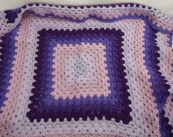 Vintage Crocheted Afghan Luscious Purple Colors