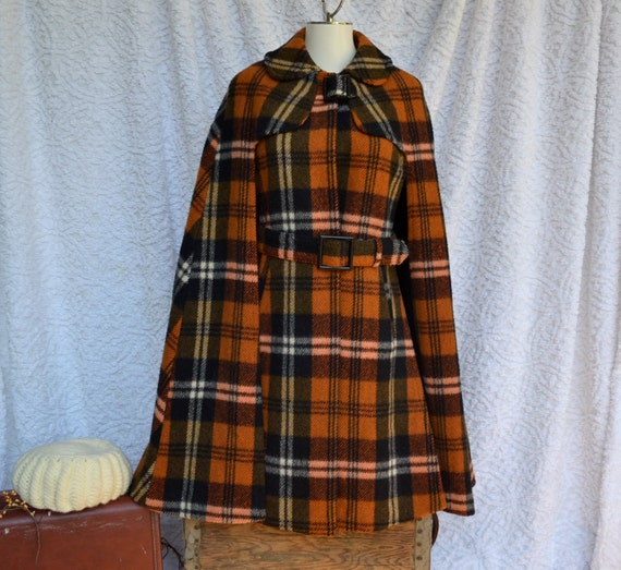 Peter Pan Collar/ Orange Plaid Belted Coat/ Vintage Amazing Condition and Style