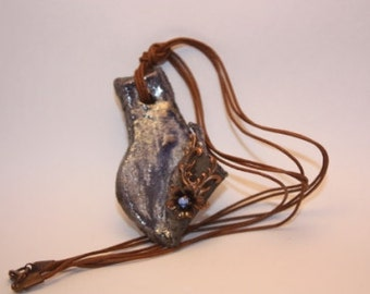 raku ceramic necklace/handmade necklace/ceramic jewelry/one of a kind necklace