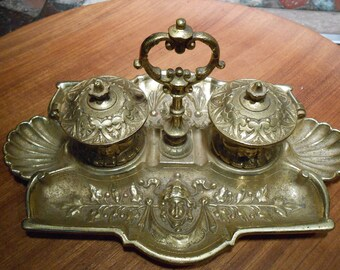 Vintage Brass Art Deco Ink Well solid heavy