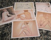 Nude Studies Series charcoal and pastel drawings Giclee Prints with free shipping