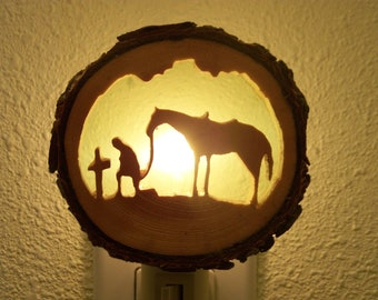 Praying Cowboy with Horse nightlight
