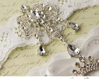 Wedding garter set, White stretch lace Bridal Garter set, Crystal Brooch garter, Crystal Rhinestone Crown