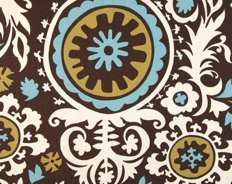 Suzani Chocolate and Natural Fabric - One Yard - Premier Prints Fabric