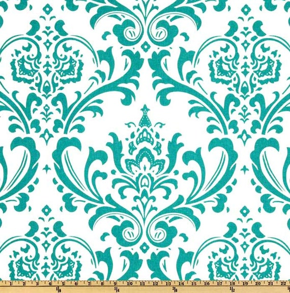 Traditions True Turquoise on White Home Decor Fabric - One Yard - Premier Prints Fabric