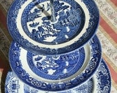 3 Tier Cake Stand - Willow Pattern - Vintage Plates
