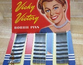 World War II Vicky Victory Bobbie pins on card- Estate find and great display item