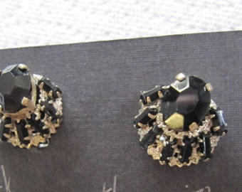 Czechoslovakia  Black Jet Prong Set Earring pair from the 1950s - Hollywood Regency Era  - Estate find!