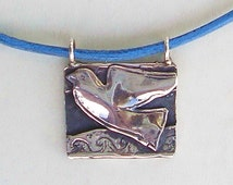Dove upon water, Dove necklace, silver & leather, Judaica, Kabbalah, Israeli jewelry, made in Israel