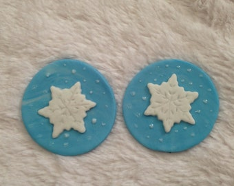 Edible Fondant cupcake or cookie Topper- Snow Flakes perfect for Christmas or winter