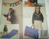 boys sewing pattern - McCalls Crafts 9432 - applique hearts, sailboats, alphabet, wall hanging, pillow, bed roll -  uncut
