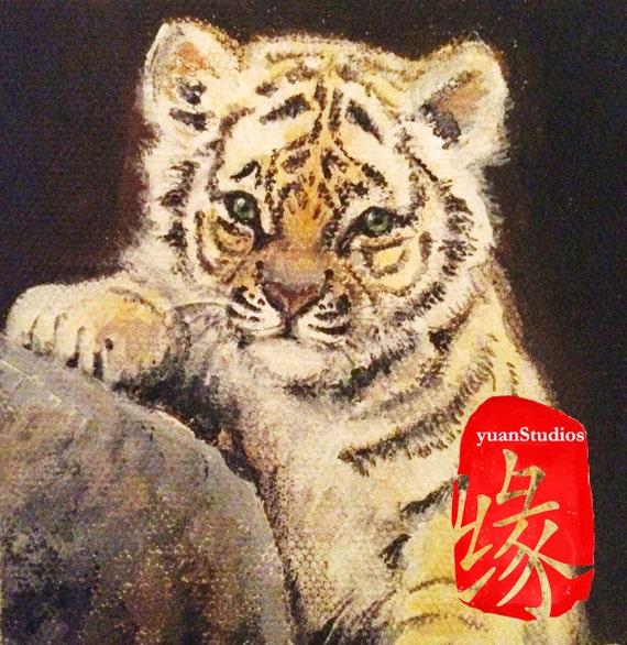 """Original Acrylic Animal Fine Art Painting Figurative Tiger Portrait on Gallery Canvas Titled: LUCKY BABY TIGER 4x4x1.5"""" by Ms. Emily M."""