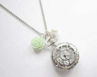 Romantic Pocket Watch Necklace with mint cabochon rose and white pearl