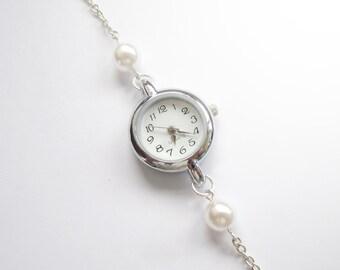 Simple Elegant Pearl Bracelet Watch