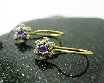 Genuine Diamond & Amethyst Earrings, Two Tone 14k Gold,  Handmade by Tampico USA.