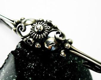 1950s C. Brumberg Hansen Filigree Pin, Signed, Sterling Silver, Modernism, Hallmarked Denmark.
