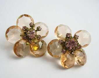 Earrings 50s Miriam Haskell Signed, Large Faceted Swarovski Crystals; Clips. NYC USA