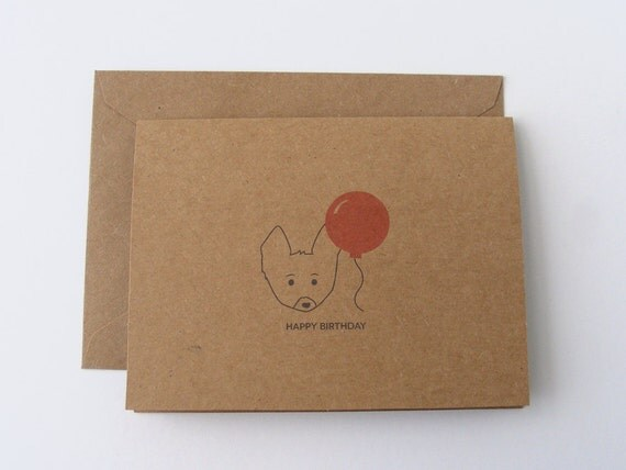 Corgi & Balloon Birthday Card - Set of 2