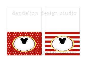 PRINTABLE Fancy Tent Tags - Mickey Mouse Party Collection - Dandelion Design Studio