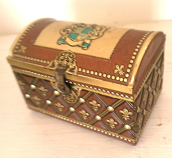 Vintage Ornate Metal Embossed Hinged Tin Box Chest Made in West Western Germany Brown Gold Turquoise Shield Crest
