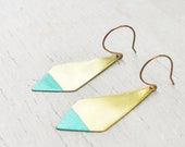 Turquoise Earrings- Southwestern Geometric, Brushed Brass, Dipped Diamond Points - ILIOS