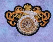 SteamPunk Alchemist Astrolabe Iron On Embroidery Patch MTCoffinz  - small