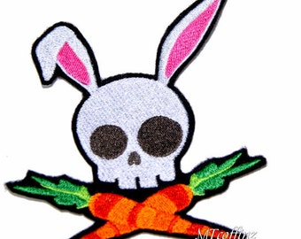 Skull and Crossbones Easter Bunny Carrots Iron On Embroidery Patch MTCoffinz - Choose Size