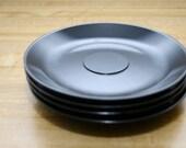 Vintage set of 4 Black Prolon Melamine Saucers