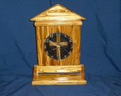 Handcrafted Wooden Clock with shelf and cross face
