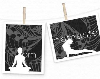 Yoga Decor - Yoga Posters -Yoga Studio Decor - OM & Namaste Inspirational Lotus Cobra Pose Yoga Art Prints Yoga Wall Art