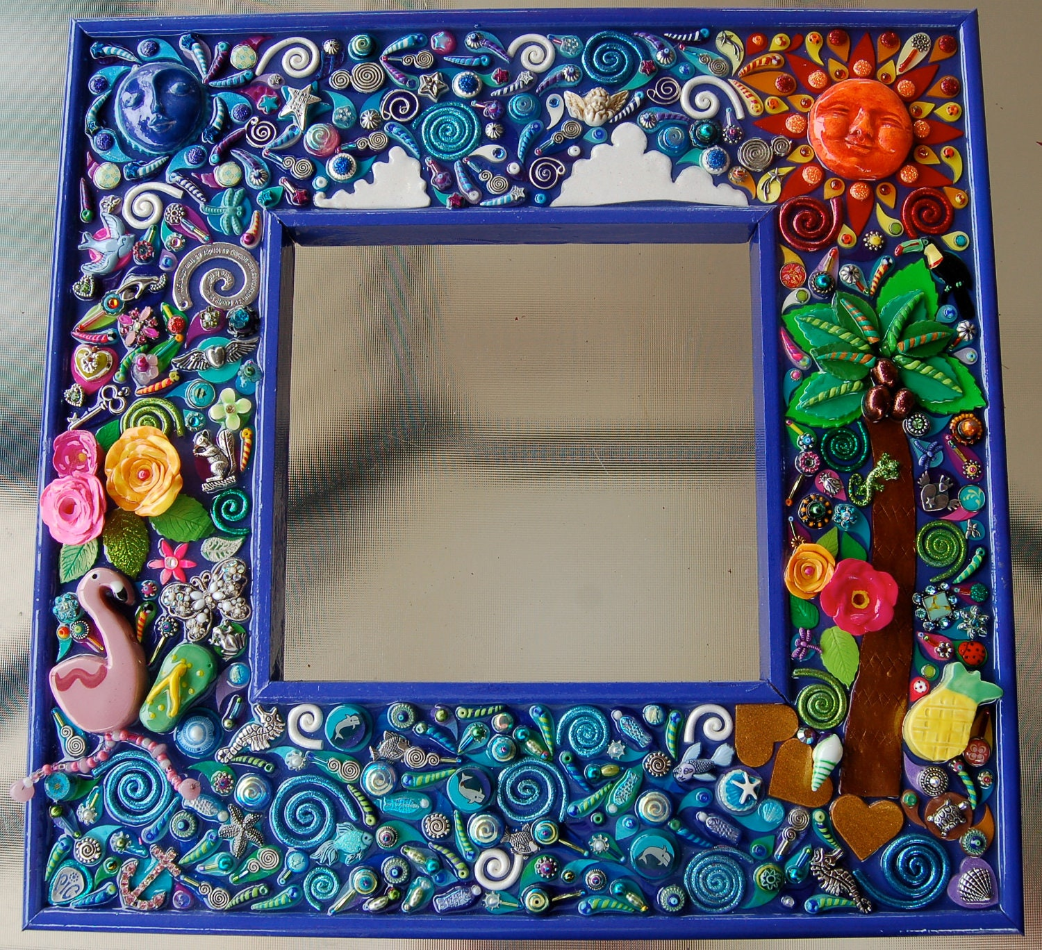 Embellished mirror life 39 s a beach ooak custom made by for Embellished mirror frame